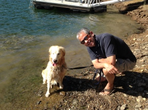 "Kali and me after her ""first"" swim at Pine Mountain Lake (albeit on leash close to shore)"