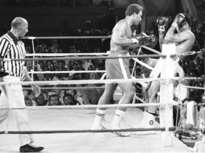Rope-a-dope with Ali covering up while he let's George Forman punch himself out